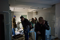 Tunis, January 15, 2011.Neighbors and ordinary people 'visit' the looted house from Moncef Trabelsi, brother of Ben Ali's wife in Gammarth Supérieur..