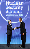 United States President Barack Obama welcomes President Serzh Sargsian of Armenia to  the Nuclear Security Summit at the Washington Convention Center, Monday, April 12, 2010 in Washington, DC. .Credit: Ron Sachs / Pool via CNP