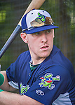 8 July 2014: Vermont Lake Monsters first baseman John Nogowski takes batting practice prior to a game against the Lowell Spinners at Centennial Field in Burlington, Vermont. The Lake Monsters rallied with two runs in the 9th to defeat the Spinners 5-4 in NY Penn League action. Mandatory Credit: Ed Wolfstein Photo *** RAW Image File Available ****