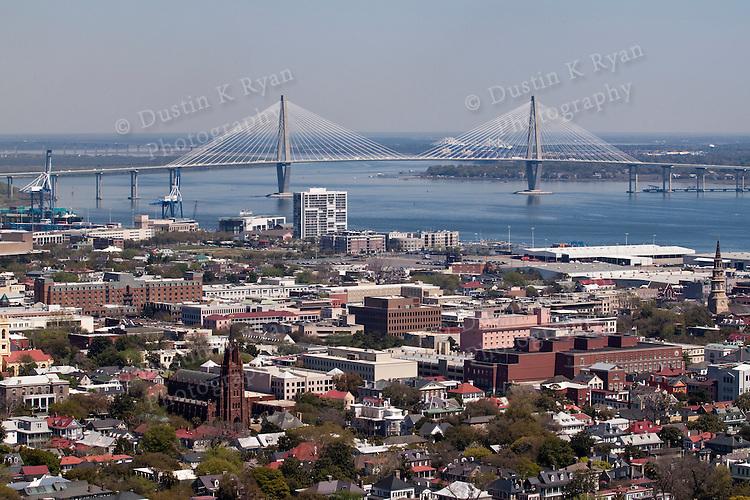 Arthur Ravenel Jr Bridge downtown Charleston SOuth Carolina Aerial Photogaphy