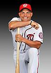 25 February 2011: Washington Nationals' catcher Ivan Rodriguez poses for his Photo Day portrait at Space Coast Stadium in Viera, Florida. Mandatory Credit: Ed Wolfstein Photo