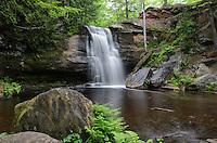 Beautiful Middle Hungarian Falls flowing through the lush green U.P. forest. Hubbell, MI - Keweenaw Peninsula