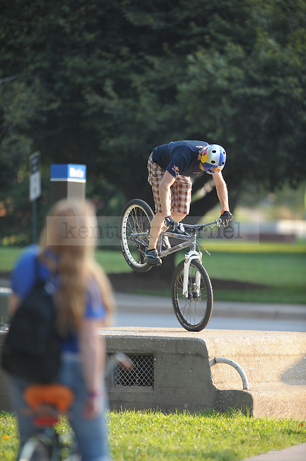 World record holder biker Thomas Oehler biking around UK's campus putting on a show. Photo by Mike Weaver | Staff