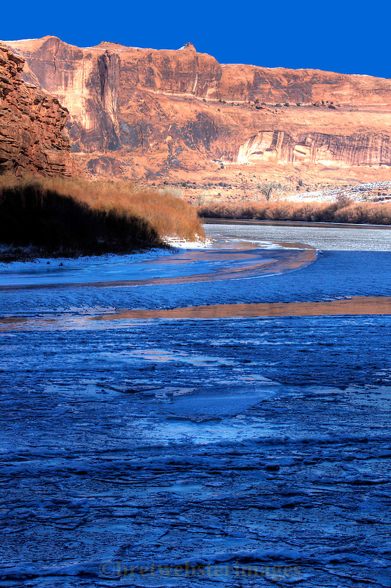 Rare deep freeze puts beautiful ice on the Colorado River near Moab, Utah