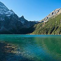 Colorful water of Morskie Oko lake, Tatra mountains, Poland