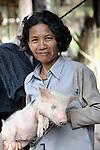 Bun Tem raises pigs in the Cambodian village of Solang Kandal.