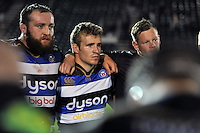 Jonathan Evans of Bath Rugby looks on in a post-match huddle. West Country Challenge Cup match, between Bath Rugby and Gloucester Rugby on September 26, 2015 at the Recreation Ground in Bath, England. Photo by: Patrick Khachfe / Onside Images