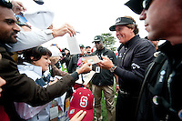 PEBBLE BEACH, CA--Phil Mickelson sign autographs for fans after winning the AT&T Pebble Beach National Pro-Am Golf Championship at Pebble Beach Golf Links in Pebble Beach, CA on Sunday, February 12, 2012. Mickelson won the tournament with a total score of 269.