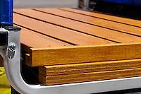 The IKEA Gorm shelf and wooden risers after attachment to the Schwinn bike trailer's frame.