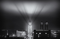 &quot;The Signal&quot;<br /> While Duluth slept, the bat signal pierced the fog over the Aerial Lift Bridge. On foggy nights, the lights on the Aerial Lift Bridge cast ethereal shadows skyward over Canal Park.