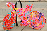 """Bike-like object no. 9"" by Polish artist Olek at the Third Street Promenade on Friday, October 15, 2010."