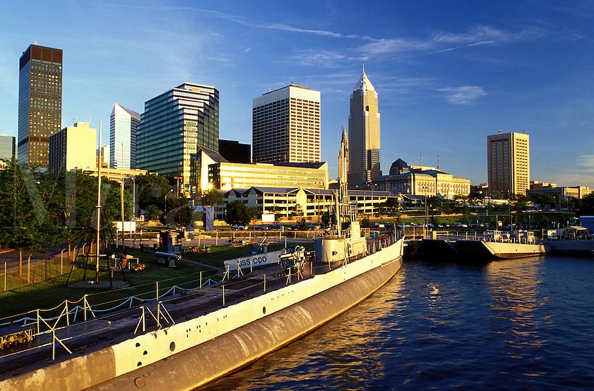 Cleveland, skyline, OH, Ohio, Downtown skyline of Cleveland, USS Cod Submarine Museum, Lake Erie