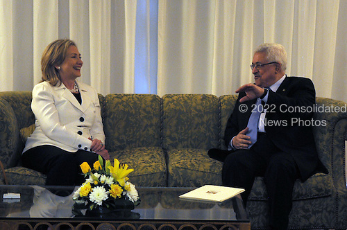 United States Secretary of State Hillary Rodham Clinton meets with President Mahmoud Abbas of the Palestinian Authority in Sharm El Sheikh, Egypt, on Tuesday, September 14, 2010. .Credit: Department of State via CNP.