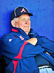 2 March 2010: Atlanta Braves Manager Bobby Cox watches from the dugout during the Opening Day of Grapefruit League play at Tradition Field in Port St. Lucie, Florida. The 2010 season marks Coxs 29th as an MLB manager and his 25th at the helm of the Braves. The Mets defeated the Braves 4-2 in Spring Training action. Mandatory Credit: Ed Wolfstein Photo
