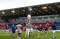 Bath Rugby forwards practise their lineout during the pre-match warm-up. Aviva Premiership match, between Sale Sharks and Bath Rugby on May 6, 2017 at the AJ Bell Stadium in Manchester, England. Photo by: Patrick Khachfe / Onside Images