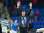 St Johnstone v Celtic&hellip;.McDiarmid Park, Perth.. 11.05.16<br />Tommy Wright celebrates at full time<br />Picture by Graeme Hart.<br />Copyright Perthshire Picture Agency<br />Tel: 01738 623350  Mobile: 07990 594431