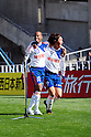 (L-R) Michael, Cho Young-Cheol (Albirex), MARCH 5, 2011 - Football : Michael of Albirex Niigata celebrates with his teammate Cho Young-Cheol after scoring the opening goal during the 2011 J.League Division 1 match between Avispa Fukuoka 0-3 Albirex Niigata at Level 5 Stadium in Fukuoka, Japan. (Photo by AFLO)