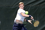 21 April 2016: Notre Dame's Josh Hagar. The University of Notre Dame Fighting Irish played the Duke University Blue Devils at the Cary Tennis Center in Cary, North Carolina in the first round of the Atlantic Coast Conference Men's Tennis Tournament. Notre Dame won the match 4-1.