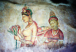 Sigiriya, Sri Lanka. Part of the frescoes on the exterior of Sigiriya (Lion's Rock) fortress in central Matale district of Sri Lanka.