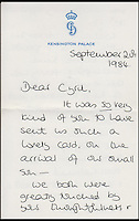 BNPS.co.uk (01202 558833)<br /> Pic: Cheffins/BNPS<br /> <br /> A letter from Diana to Cyril dated September 1984 in which she tells of how William adores his little brother and has been swamping him with hugs and kisses.<br /> <br /> Heartwarming unseen letters from Princess Diana in which she speaks of Prince William's love for his younger brother and Prince Harry's rebellious side have emerged for auction.<br /> <br /> In the letters to the late Cyril Dickman, who served as a steward at Buckingham Palace for more than 50 years, she spoke of how William 'could not stop kissing' Harry after he was born in September 1984.<br /> <br /> One particularly touching letter to Mr Dickman, dated March 2, 1985, reads: &quot;William adores his little brother and spends the entire time swamping Harry with an endless supply of hugs and kisses, hardly letting the parents near!&quot; <br /> <br /> The letters will go under the hammer at Cheffins auctioneers on January 5.