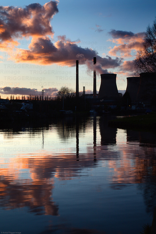 Ferrybridge Power Station Reflected in the Aire and Calder Navigation Ferrybridge West Yorkshire England