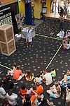 Class taught in the lobby of the Children's Museum, Indianapolis, Indiana, IN, USA