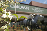 HOT SPRINGS, AR - MARCH 18: Dogwood trees are in full bloom in front of beautiful Oaklawn Park on Rebel Stakes Day at Oaklawn Park on March 18, 2017 in Hot Springs, Arkansas. (Photo by Justin Manning/Eclipse Sportswire/Getty Images)
