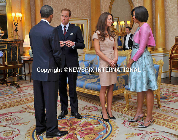 """PRESIDENT BARACK OBAMA AND MRS MICHELLE OBAMA MEET PRINCE WILLIAM AND CATHERINE.The US President and Mrs. Obama met the Duke and Duchess of Cambridge at Buckingham Palace at the start of their 3-day State Visit to Britain, London_24/05/2011.Photo Credit: ©Pool/Newspix International..**ALL FEES PAYABLE TO: """"NEWSPIX INTERNATIONAL""""**..PHOTO CREDIT MANDATORY!!: NEWSPIX INTERNATIONAL(Failure to credit will incur a surcharge of 100% of reproduction fees)..IMMEDIATE CONFIRMATION OF USAGE REQUIRED:.Newspix International, 31 Chinnery Hill, Bishop's Stortford, ENGLAND CM23 3PS.Tel:+441279 324672  ; Fax: +441279656877.Mobile:  0777568 1153.e-mail: info@newspixinternational.co.uk"""