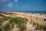 Crowds pack the beaches at Rehoboth Beach, Delaware, passing new dunes and fences that have been replaced after the devastation of a hard winter storm season.