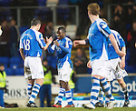 St Johnstone v Celtic.....19.02.13      SPL.Nigel Haselbaink celebrates his goal with David McCracken.Picture by Graeme Hart..Copyright Perthshire Picture Agency.Tel: 01738 623350  Mobile: 07990 594431