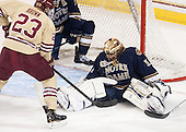 Patrick Brown (BC - 23), Steven Summerhays (ND - 1) - The Boston College Eagles defeated the visiting University of Notre Dame Fighting Irish 4-2 to tie their Hockey East quarterfinal matchup at one game each on Saturday, March 15, 2014, at Kelley Rink in Conte Forum in Chestnut Hill, Massachusetts.
