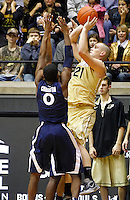WEST LAFAYETTE, IN - DECEMBER 01: D.J. Byrd #21 of the Purdue Boilermakers shoots the ball against Semaj Christon #0 of the Xavier Musketeers at Mackey Arena on December 1, 2012 in West Lafayette, Indiana. Xavier defeated Purdue 63-57. (Photo by Michael Hickey/Getty Images) *** Local Caption *** D.J. Byrd; Semaj Christon