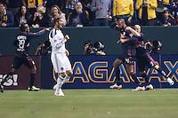 New York Red Bulls forward Thierry Henry (14) begins the celebration with teammates as LA Galaxy's David Beckham (23) looks for an offsides call from the AR. The LA Galaxy and Red Bulls of New York played to a 1-1 tie at Home Depot Center stadium in Carson, California on  May 7, 2011....