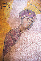 Byzantine Deësis ( Entreaty) mosaic , 1261, in which John The Virgin Mary shown in three-quarters profile, are imploring the intercession of Christ Pantocrator for humanity on Judgment Day.   Hagia Sophia, Istanbul, Turkey