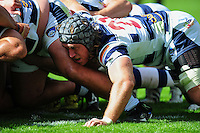 Richard Mayhew of Yorkshire Carnegie in action at a scrum. Pre-season friendly match, between Wasps and Yorkshire Carnegie on August 21, 2016 at the Ricoh Arena in Coventry, England. Photo by: Patrick Khachfe / JMP