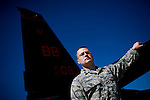Flight commander Captain John Durkee poses in front of a U2 spy plane at Beale Air Force Base in Linda, Calif., April 30, 2010.