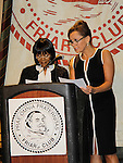 Stage and screen stars Cecily Tyson (Guiding Light) and Vanessa Williams announced the nominations for the 64th Annual Outer Critics Circle nominees on April 22, 2014 at Manhattan's Friars Club, New York City, New York. (Photo by Sue Coflin/Max Photos)