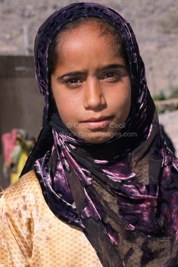 Nakhr, Wadi Ghul, Jebal Akhdar, Oman, Arabian Peninsula, Middle East - Omani Girl.