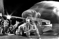 DAYTONA BEACH, FL - FEBRUARY 5: The Jaguar XJR-5 008 driven by Bob Tullius, David Hobbs and Doc Bundy makes a pit stop during the 24 Hours of Daytona IMSA GT race at the Daytona International Speedway in Daytona Beach, Florida, on February 5, 1984.