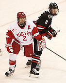 Ryan Ruikka (BU - 2), Adam Reid (NU - 8) - The Boston University Terriers defeated the visiting Northeastern University Huskies 5-0 on senior night Saturday, March 9, 2013, at Agganis Arena in Boston, Massachusetts.