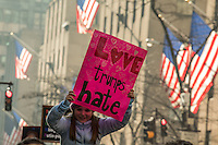 NEW YORK, NY - JANUARY 21: A girl holds a sign during  the Women's March in New York City on January 21, 2017. Protesters in the United States and around the world are joining marches Saturday to raise awareness of women's rights and other civil rights they fear could be under threat under Donald Trump's presidency. Photo by VIEWpress/Maite H. Mateo.