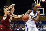 17 January 2016: Boston College's Alexa Coulombe (13) tries to steal the ball from Duke's Amber Henson (right). The Duke University Blue Devils hosted the Boston College Eagles at Cameron Indoor Stadium in Durham, North Carolina in a 2015-16 NCAA Division I Women's Basketball game. Duke won the game 71-51.