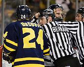 Stephane Da Costa (Merrimack - 24), Bob Bernard, Mike Sislo (UNH - 19), Chris Millea - The Merrimack College Warriors defeated the University of New Hampshire Wildcats 4-1 (EN) in their Hockey East Semi-Final on Friday, March 18, 2011, at TD Garden in Boston, Massachusetts.