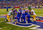 14 December 2014: Members of the Buffalo Bills and Green Bay Packers say a post game prayer at mid-field following play at Ralph Wilson Stadium in Orchard Park, NY. The Bills defeated the Packers 21-13, snapping the Packers' 5-game winning streak and keeping the Bills' 2014 playoff hopes alive. Mandatory Credit: Ed Wolfstein Photo *** RAW (NEF) Image File Available ***