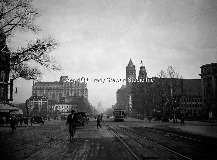 Washington DC:  View down Pennsylvania Avenue toward the US Capital - 1912.  Brady and Sarah Stewart sightseeing in Washington DC while on their honeymoon.
