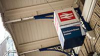 Fenchurch Street Station Sign, London, Britain Apr 2014.