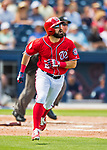 28 February 2017: Washington Nationals outfielder Adam Eaton in Spring Training action during the inaugural game against the Houston Astros at the Ballpark of the Palm Beaches in West Palm Beach, Florida. The Nationals defeated the Astros 4-3 in Grapefruit League play. Mandatory Credit: Ed Wolfstein Photo *** RAW (NEF) Image File Available ***