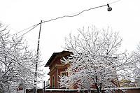 Nevicata a Roma.Snowfall in Rome.Fondazione dei Cavalieri di Colombo.