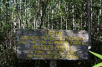 Proceed Quietly Sign, Corkscrew Swamp Sanctuary, Naples, Florida, US