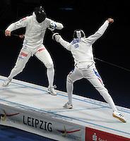 European Championships Fencing 2010 / Fecht Europameisterschaft 2010 in Leipzig - Competition Championat d'europe - im Bild: the new european champion  Jean-Michel LUCENAY (FRA) aigainst Radoslaw ZAWROTNIAK (POL, left) during the semi finale. Foto: Norman Rembarz..Norman Rembarz , Autorennummer 41043728 , Augustenstr. 2, 04317 Leipzig, Tel.: 01794887569, Hypovereinsbank: BLZ: 86020086, KN: 357889472, St.Nr.: 231/261/06432 - Jegliche kommerzielle Nutzung ist honorar- und mehrwertsteuerpflichtig! Persönlichkeitsrechte sind zu wahren. Es wird keine Haftung übernommen bei Verletzung von Rechten Dritter. Autoren-Nennung gem. §13 UrhGes. wird verlangt. Weitergabe an Dritte nur nach  vorheriger Absprache..